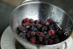 black raspberries in colander