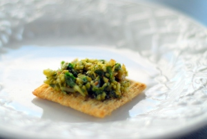 pesto on cracker