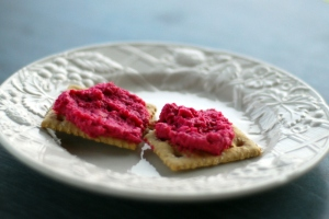 beetroot hummus on crackers