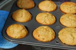 banana muffins in tin