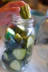cucumbers in canning jar