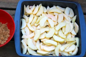 sliced apples and brown sugar