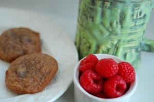 cookies, raspberries, and mug 1