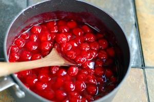 cherries in pan