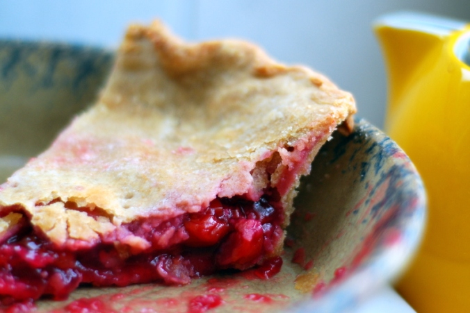 cherry pie in pie plate