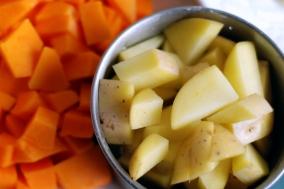 chopped squash and potatoes
