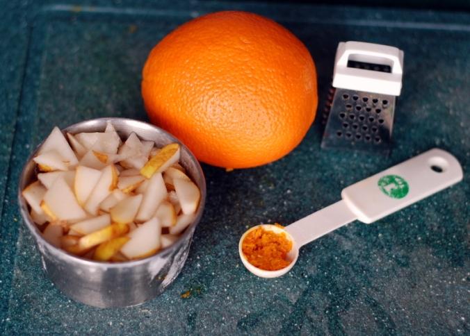 chopped pears and orange