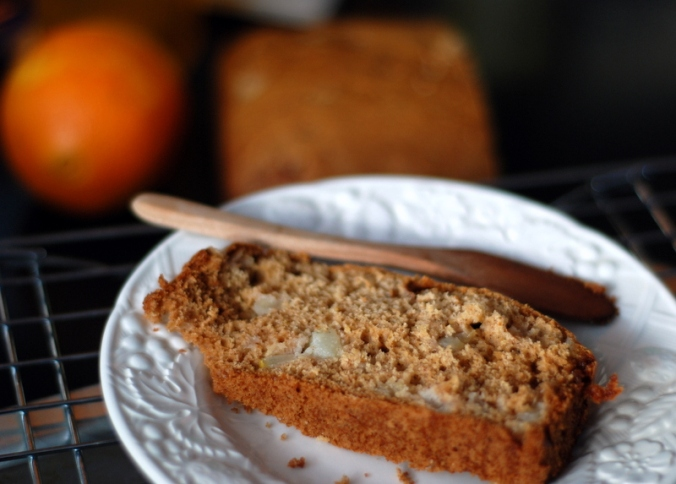 pear bread and orange