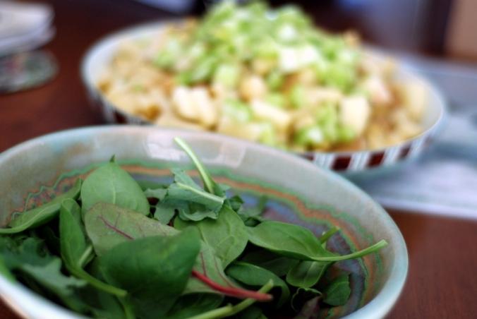 greens and potatoes