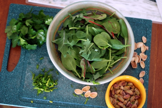 greens and pistachios
